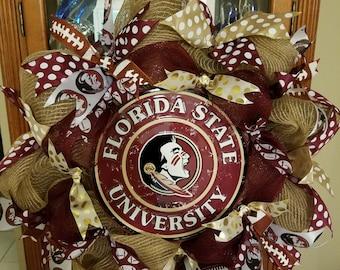 FSU Wreath, Florida state wreath, college wreath, team wreath, seminole wreath