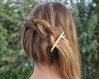 Antler Hair Clip, Antler bobby Pin, Retro Hair pin, Deer antler hair pin, Deer Hair Pin, Deer Hair Clip, Antler, Gold Hair clip, Barrette
