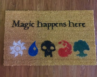 Magic Happens Here (Magic The Gathering) Inspired Decorative Doormat