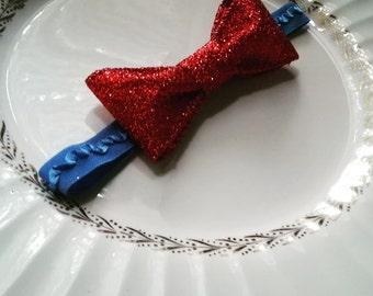 Snow White Baby Costume Headband, Glitter Red Bow Headband, Snow White Bow Headband, Red and Blue Bow, Red And Blue Baby Headband, Red Bow