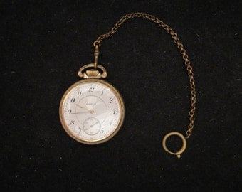 1917 21 Jewel Gold FIlled Case Size 16s Elgin Father Time Pocket Watch w/ Fob Works