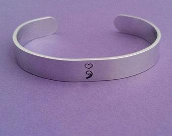 Heart semicolon cuff bangle bracelet hand stamped aluminium gift
