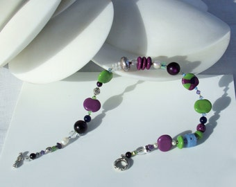 Kazuri Bead Necklace in Purple Blue Green with Silver Toggle