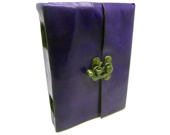 Purple Leather Journal Diary, Notebook, Real Leather, Cotton Pages, A5