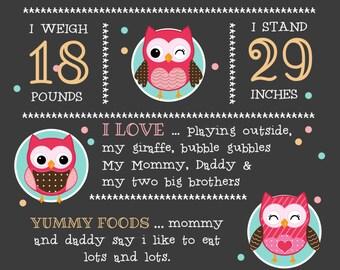 Girl Owl Theme Birthday Chalkboard Poster