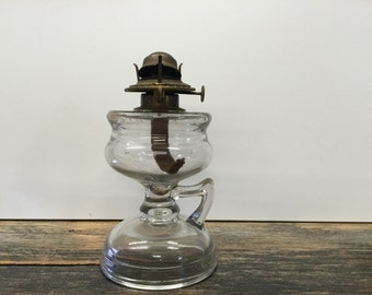 Glass oil lamp, Vintage oil lamp, Kerosene oil lamp, Vintage lighting, Clear glass lamp, Eagle oil lamps, P and A oil lamp