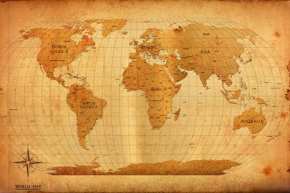 World map vintage style poster print gumiabroncs Images