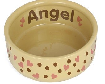 Personalised Dotty Heart Large Brown Pet Bowl, Dog food or water Bowl
