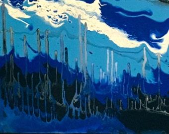 Snow-capped Mountains- acrylic fluid blues