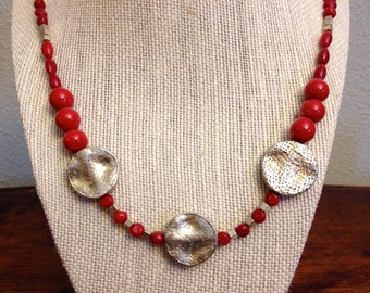 Red & Silver Beaded Necklace