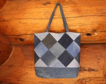 Patchwork denim tote bag, patchwork tote, patchwork bag, denim bag, denim tote, jean bag, jean tote, market tote, market bag, recycled denim
