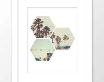 printable art, Venice photograph, California print, geometric art, Los Angeles photo, palm trees, Venice sign photo, mint green decor
