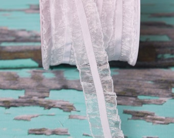 White ruffle Elastic double ruffled elastic by the yard, stretch elastic headband, wholesale elastic stretch elastic trim, organza fabric