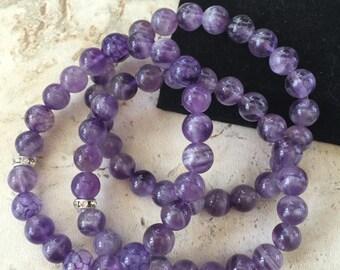 Amethyst Sparkle - stretch bracelet - set of 3 - handmade