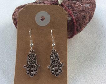 Hand of Fatima peace Buddhism drop earrings hippy boho handmade jewellery