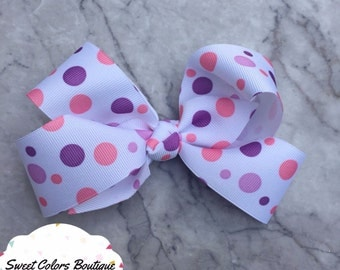 Pink & Purple Pattern Hair Bow