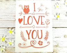 I Love You Cute Owl Heart Doodle Postcard