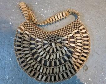 Vintage Wood Bead Clutch