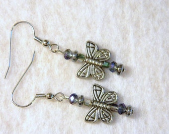 Butterfly Accent Pierced Earrings with Lovely Glass Beads