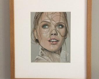 Original coloured pencil artwork. Woman with wet hair