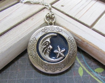 Blue moon Antique silver Locket Necklace- Bride Bridesmaid gift Birthday Sister Mom Daughter, best of friends locket.