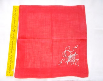 Vintage hankie red with white flower basket  embroidery on one corner.