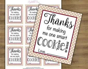 Teacher Appreciation Tags; One Smart Cookie Printable; Teacher Gift Tags; Teacher Gift Printables; Teacher Tags