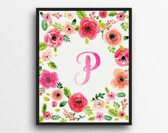 Monogram Letter P Print | Floral Wreath Monogram | Initial Print | Watercolor Floral Print | Digital Download