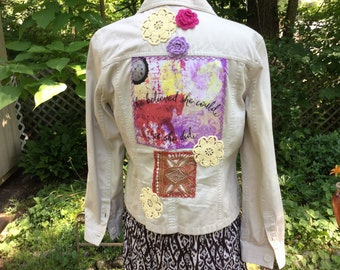 Altered Upcycled Women's Beige Denim Jacket, Boho Gypsy CowGirl Bohemian Shabby Chic Fashion, Size Small