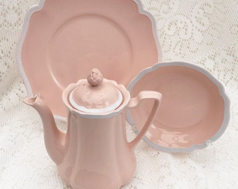 "Johnson Brothers Staffordshire ""ROSEDAWN"" Teapot & Plates. Vintage Rosedawn China, Rose Dawn Pink and White Serveware"