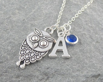 Owl necklace, personalized jewelry, initial necklace, swarovski birthstone, gift for her, silver owl jewelry, birthstone jewelry