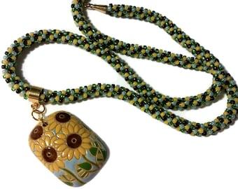 Sunflower Pendant On A Kumihimo Necklace (v1)