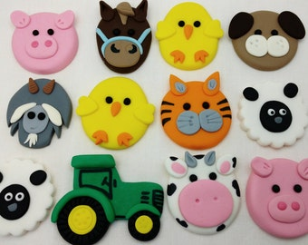 Farm Yard Animal and Tractor Edible Cake or Cupcake Decorations Toppers.