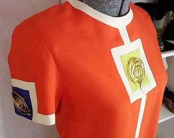 Clean, Vintage, 1980's, 1990's, Steve Fabrikant, Neiman Marcus, Orange, Short Sleeve, Shift, Dress