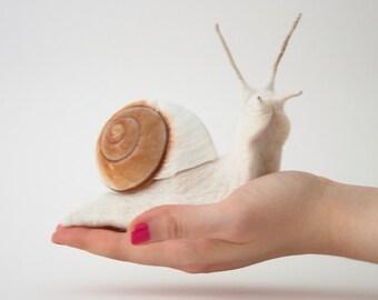 Felt Snail Soft Sculpture, Needle Felted Original Artwork, Large Land Snail