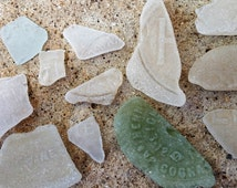 Genuine Sea Glass Vintage Imprinted Bottles