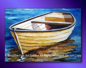 Impressionistic painting: seascape. Abstract painting (Boat). Contemporary Painting, Modern painting ready to hang. Abstract decor Wall Art