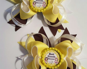 Best Friends Girls Hair Bows.  Set of 2
