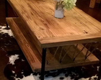Solid Reclaimed Wood Coffee Table Rustic Insdustrial