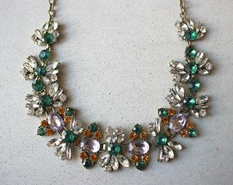 60% OFF Statement floral bib necklace purple green ivy flower crystal necklace