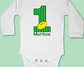 Baby Body Suit - First Birthday Rugby // First Birthday Baby Gift // Babygrow