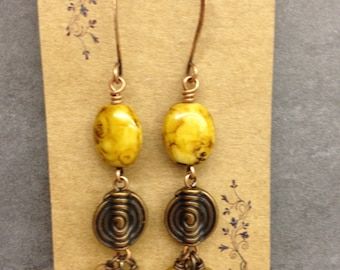 Golden Yellow and Copper Earrings