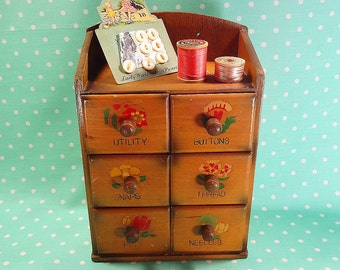 Vintage Sewing Notion Cabinet