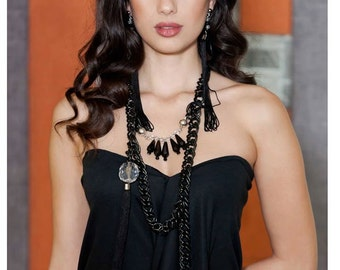 Statement Necklace - Chain Necklace with crystals and tassel