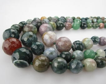 Faceted India Agate Gemstone Round Loose Beads 15.5 Inch per Strand 8mm-18mm.I-AGA-0401