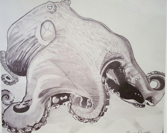 Realistic octopus, 8x10 print