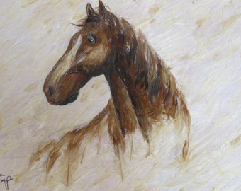Head Horses Feather Painting