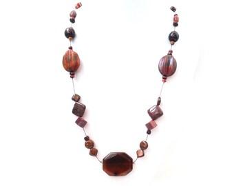 chocolate necklace: agate, wood, jasper, bronzite