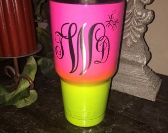 Custom Powder Coated Yeti, RTIC Cups, ombre, zodiac, monogram