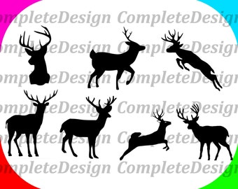 Deer Silhouette Set Print Cut Files svg png dxf Instant Downloads
